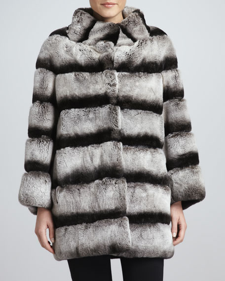 Striped Rabbit Fur Swing Coat