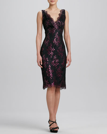 Pink Metallic Floral Lace Cocktail Dress
