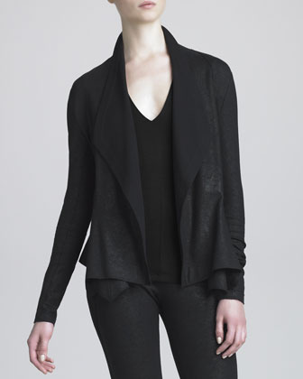 Cascading-Collar Faux Leather Jacket