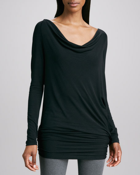 Long-Sleeve Draped Tunic