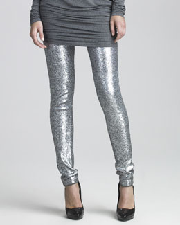 Donna Karan Sequined Jersey Leggings