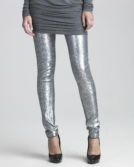 Donna Karan Sequined Jersey Leggings