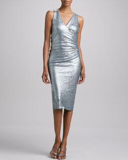 Donna Karan Sequined V-Neck Dress
