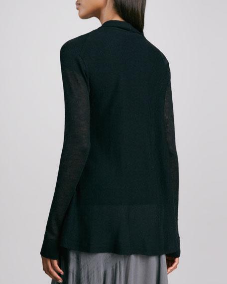Lightweight Draped Open Cardigan, Black