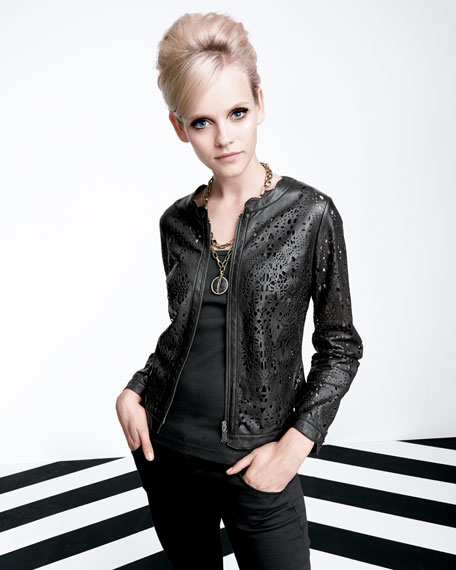 Berek Perforated Lambskin Lace Jacket