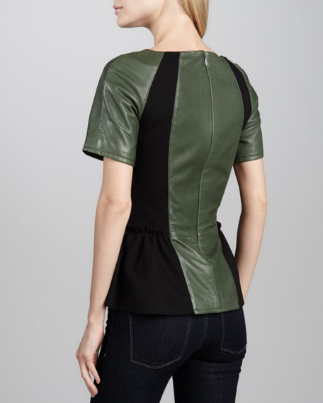 Lyra Leather & Ponte Peplum Top, Black/Commander