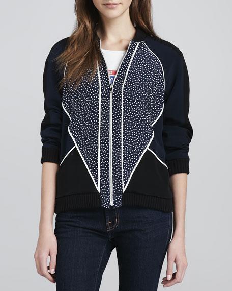 Nolan Printed/Solid Silk Bomber Jacket
