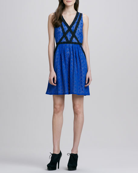 Contrast-Band Lace Dress