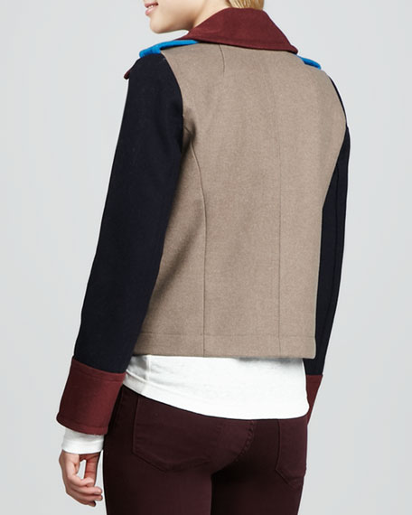 Nicoletta Wool-Blend Colorblock Jacket