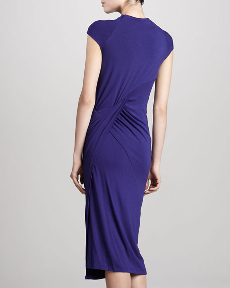 Cap-Sleeve Slash Jersey Dress, Lapis