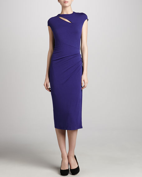 Cap-Sleeve Slash Jersey Dress, Lapis