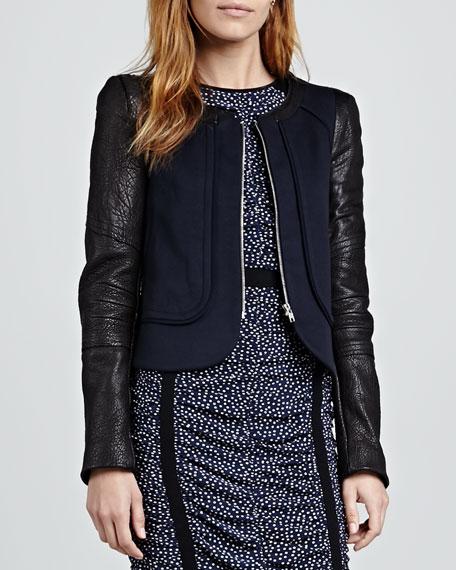 Odyssey Leather-Sleeve Jacket