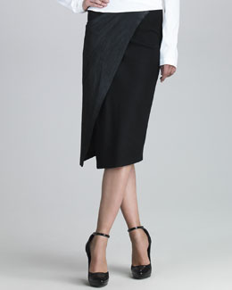 Donna Karan Stretch Leather Envelope Skirt