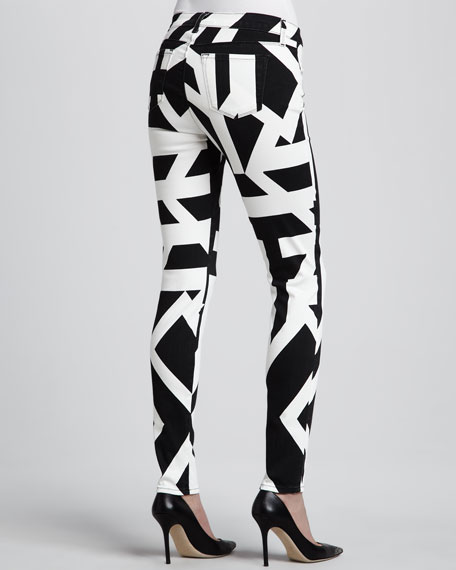 Mid-Rise Super Skinny Graphic Jeans