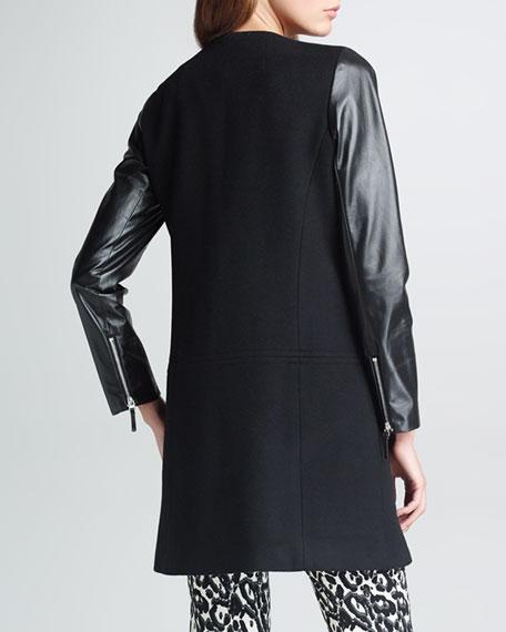 Chloe Leather-Sleeve Coat