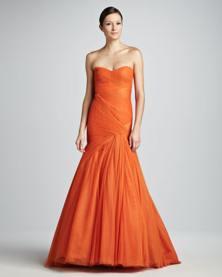 Ruched Tulle Trumpet Gown, Orange