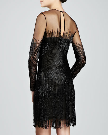 Beaded & Fringed Cocktail Dress