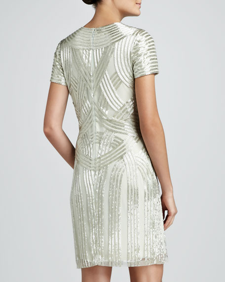 Art Deco Beaded Cocktail Dress, Aqua