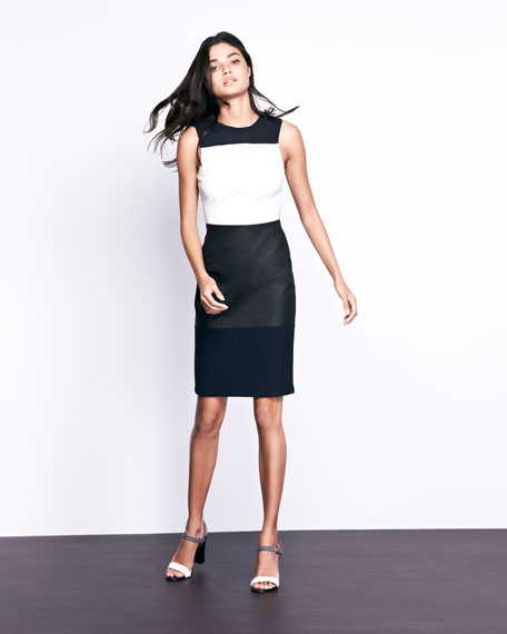 Curil Leather-Panel Combo Dress