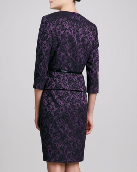 Jacquard V-Neck Skirt Suit