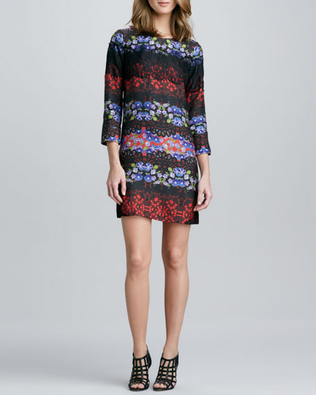 Floral and Lace-Print Silk Shift Dress