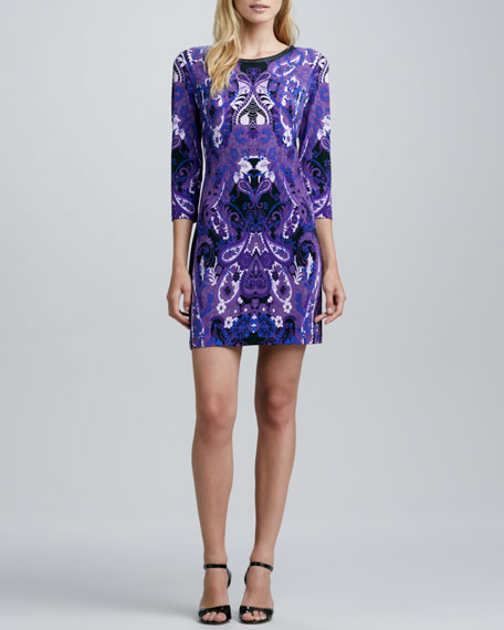 Paisley-Print Jersey Shift Dress