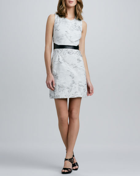 Leather-Trim Jacquard Dress