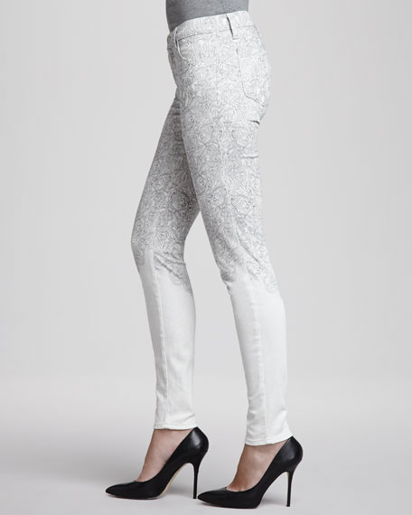 Mid-Rise Printed Skinny Jeans