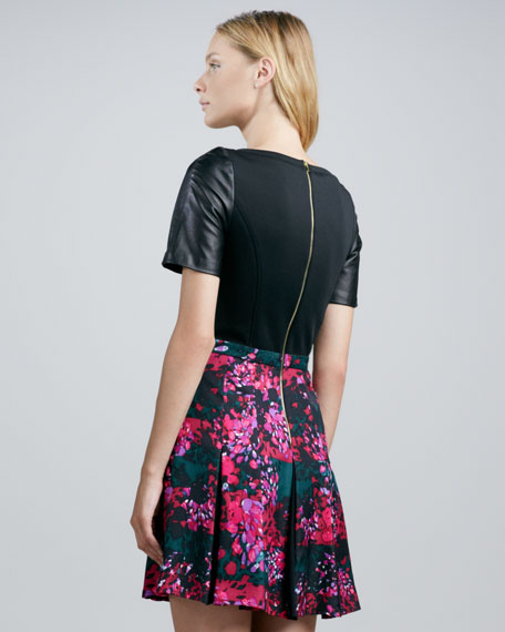 Leather-Sleeve Floral-Skirt Combo Dress