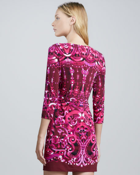 Swirl-Print Fitted Jersey Dress