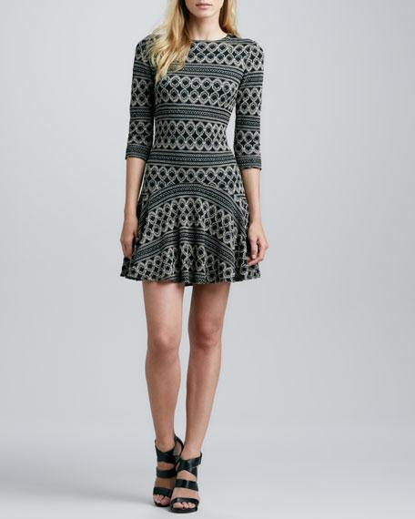 Honeycomb-Print Flutter Dress
