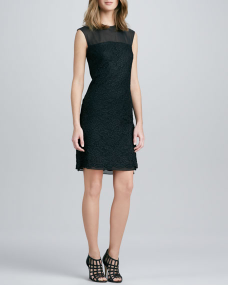 Illusion-Neck Lace Dress