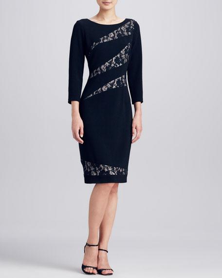 Lace Striped Inset Dress