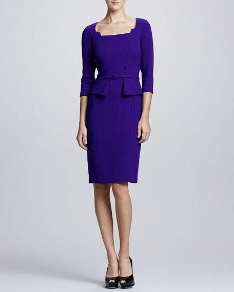 3/4-Sleeve Belted Peplum Dress