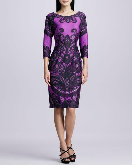 Boat-Neck Printed Sheath Dress, Purple