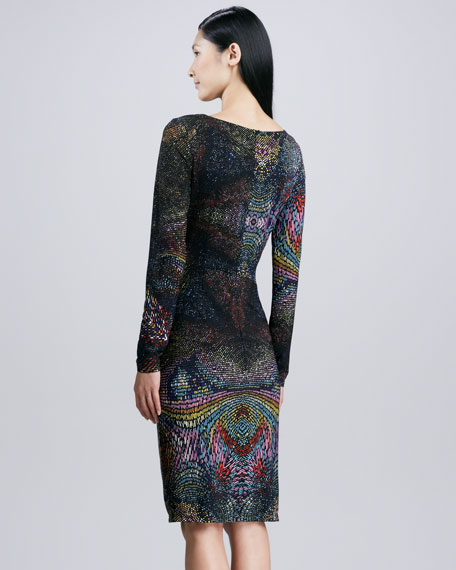 Jersey Printed Long-Sleeve Dress, Multi