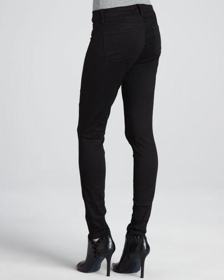 Luxe Sateen Skinny Jeans, Black