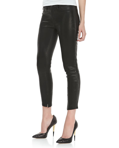 Bonded Stud Leather Cropped Pants