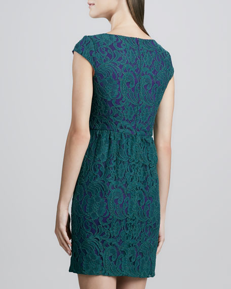 Two-Tone Cap-Sleeve Lace Dress