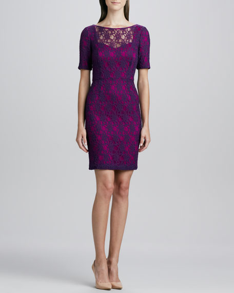 Short-Sleeve Boat-Neck Lace Dress