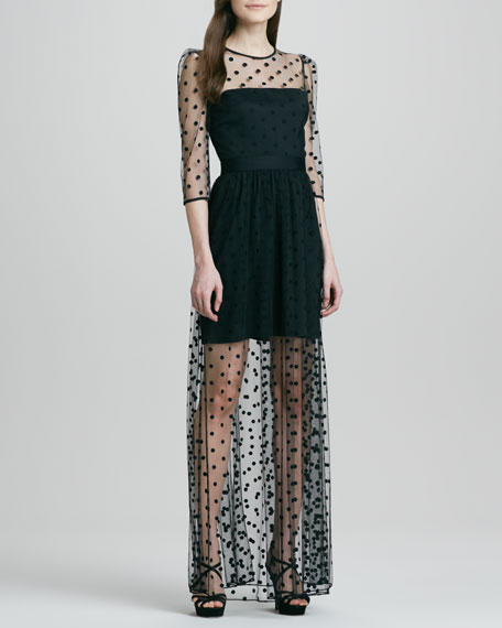 Celia Sheer Dotted Mini-Lined Gown