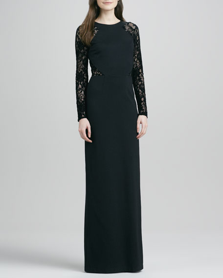 Solitaire Lace-Detail Long-Sleeve Gown