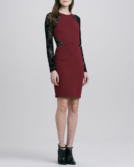 Solitaire Two-Tone  Lace/Jersey Dress