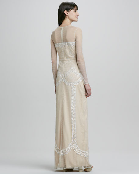 Luisa Swiss-Dot Long-Sleeve Illusion Gown