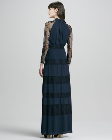 Regalia Lace-Inset Long-Sleeve Gown, Midnight