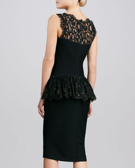 Sleeveless Lace Peplum Cocktail Dress