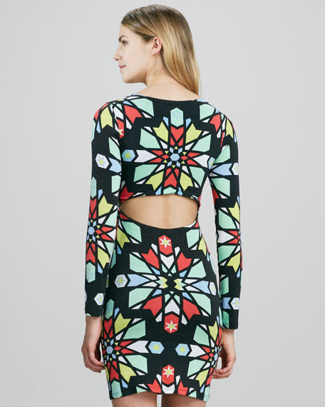 Printed Long-Sleeve Dress with Cutout Back