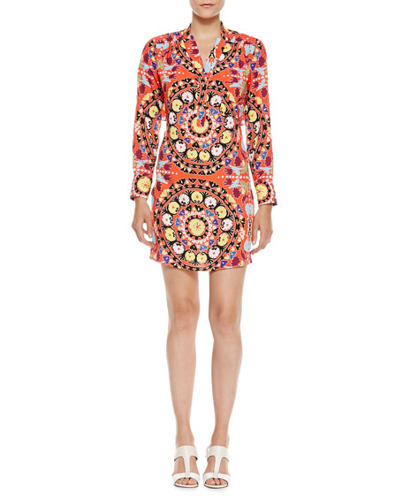Medallion-Print Vented-Back Shirtdress