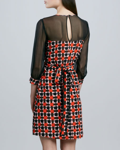 zaza printed sheer dress