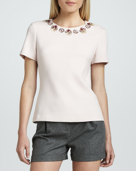 alexandria embellished-neck top